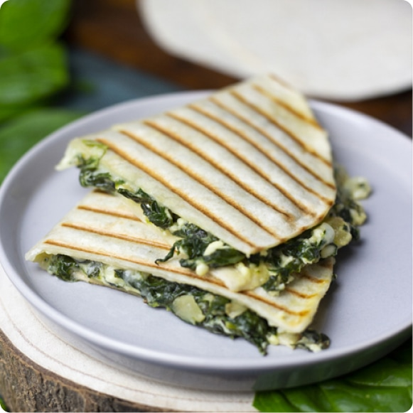 Spinach and feta cheese quesadillas