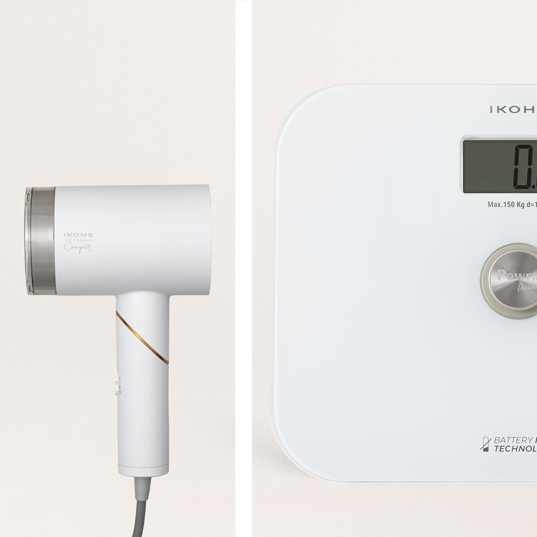 Pack - EXIGES WHITE bilancia da bagno + ION CERAMIC COMPACT asciugacapelli, imagen de galería 1040127