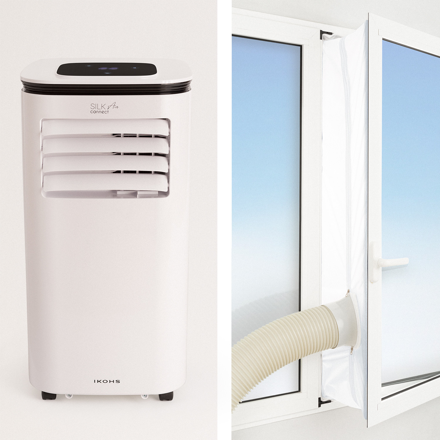 PACK - SILKAIR CONNECT Portable Air Conditioner 3in1 WiFi + EXTRACTION AND INSULATION KIT for casement windows, imagen de galería 1