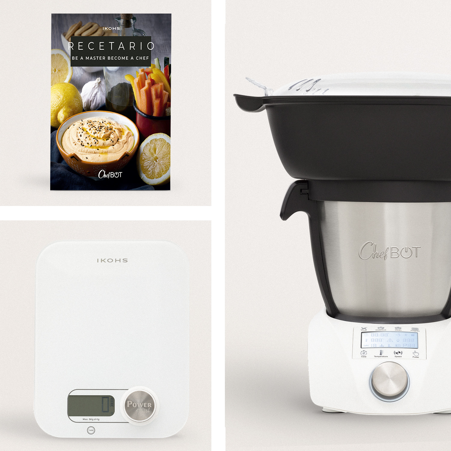 Pack -  PONDUS Scale + CHEFBOT COMPACT STEAMPRO (with Steam Basket) + Recipe Book, imagen de galería 1